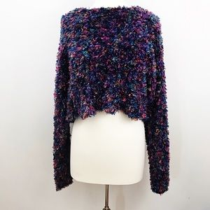VINTAGE 90s Cropped Fuzzy Sweater